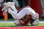 Nebraska wide receiver Stanley Morgan Jr. (8) scores a touchdown against Bethune-Cookman cornerback Elliott Miller (7) during the first half of an NCAA college football game in Lincoln, Neb., Saturday, Oct. 27, 2018. (AP Photo/Nati Harnik)