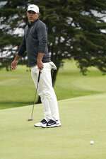 Brooks Koepka reacts after missing a putt on the 14th hole during the third round of the U.S. Open Championship golf tournament, Saturday, June 15, 2019, in Pebble Beach, Calif. (AP Photo/Carolyn Kaster)