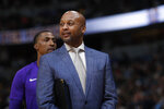 FILE - In this Dec. 2, 2017, file photo, Brian Shaw, who was then-associate head coach with the Los Angeles Lakers, stands during the second half of the team's NBA basketball game against the Denver Nuggets in Denver. Shaw is now coaching in the new developmental G League, which offers players a new and different route to the NBA. (AP Photo/David Zalubowski, File)