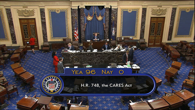 In this image from video, the final vote of 96-0 shows passage of the $2.2 trillion economic rescue package in response to coronavirus pandemic, passed by the Senate at the U.S. Capitol in Washington, Wednesday, March 25, 2020. (Senate Television via AP)