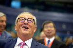 European Commission President Jean-Claude Juncker prior to the start of an EU-Asia Connectivity conference at the Charlemagne building in Brussels, Friday, Sept. 27, 2019. (AP Photo/Virginia Mayo)