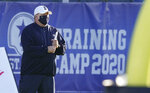 Dallas Cowboys head coach Mike McCarthy watches during an NFL football training camp practice in Frisco, Texas, Friday, Aug. 14, 2020.(AP Photo/LM Otero)