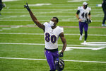 Baltimore Ravens wide receiver Miles Boykin (80) celebrates as he leaves the field following an NFL football game against the Indianapolis Colts in Indianapolis, Sunday, Nov. 8, 2020. The Ravens defeated the Colts 24-10. (AP Photo/Darron Cummings)'