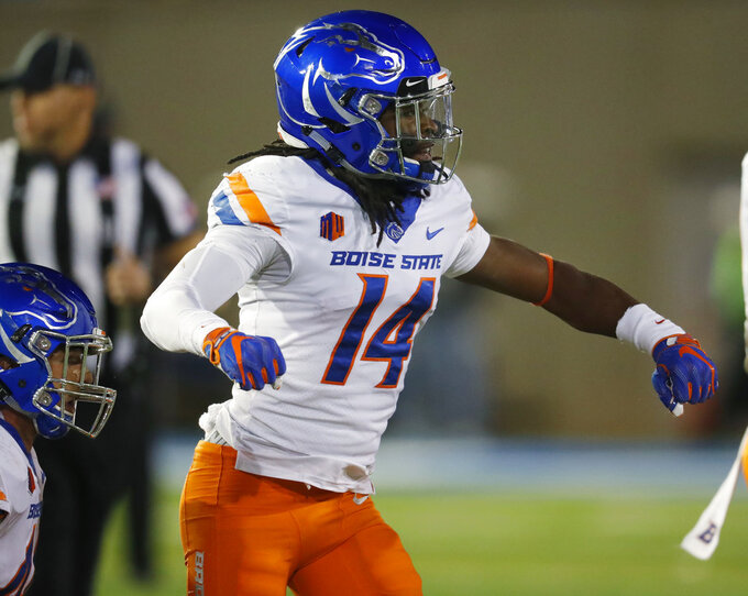 Boise State cornerback Tyler Horton celebrates after tackling Air Force fullback Cole Fagan short of a first down in the second half of an NCAA college football game Saturday, Oct. 27, 2018, at Air Force Academy, Colo. (AP Photo/David Zalubowski)