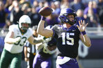TCU quarterback Max Duggan (15) throws against Baylor during the first half of an NCAA college football game, Saturday, Nov. 9, 2019, in Fort Worth, Texas. (AP Photo/Ron Jenkins)