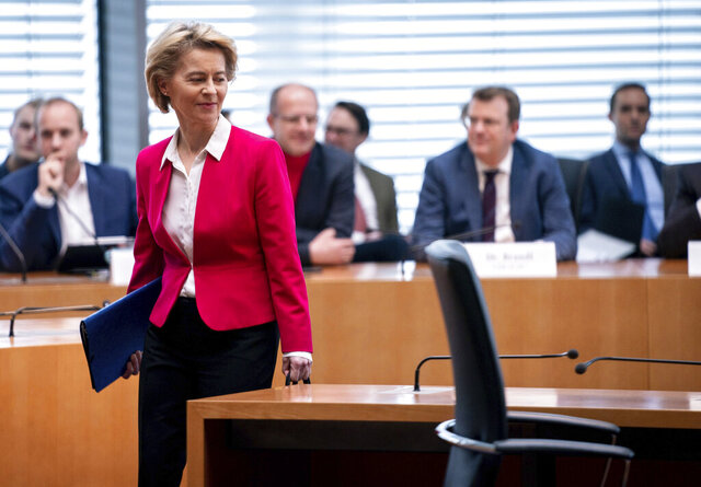 Ursula von der Leyen, former Minister of Defence and current President of the EU Commission, comes to the German Bundestag for questioning by the Bundestag's committee of inquiry into the advisor affair in the Ministry of Defence, Berlin, Germany, Thursday, Feb.13, 2020. It is expected to be used to complete the witness interviews after about a year. The Committee shall examine the award of contracts to external consultants. (Bernd von Jutrczenka/dpa via AP)