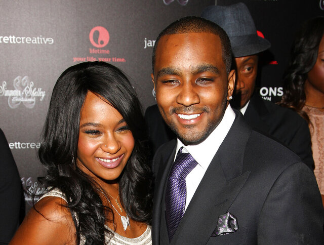 FILE - In this Oct. 22, 2012, file photo, Bobbi Kristina Brown and Nick Gordon attend the premiere party for