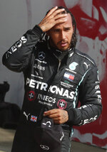 Mercedes driver Lewis Hamilton of Britain after placing second at the 70th Anniversary Formula One Grand Prix at the Silverstone circuit, Silverstone, England, Sunday, Aug. 9, 2020. (AP Photo/Frank Augstein, Pool)