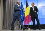 CORRECTS POST TO EUROPEAN COUNCIL   Belgian Prime Minister Charles Michel arrives for a media conference during an EU summit in Brussels, Tuesday, July 2, 2019. European Union leaders on Tuesday, July 2, 2019, after a lengthy session of talks, named current Belgian Prime Minister Charles Michel for the post of President of the European Council. (AP Photo/Virginia Mayo)