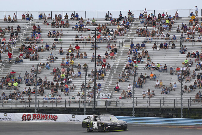 Ty Gibbs drives through Turn 1 during the NASCAR Xfinity Series auto race at Watkins Glen International in Watkins Glen, N.Y., Saturday, Aug. 7, 2021. (AP Photo/Joshua Bessex)