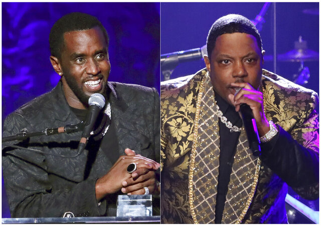 This combination photo shows Sean Combs accepting the 2020 Industry Icon award, left, and Mase performing at the Pre-Grammy Gala And Salute To Industry Icons in Beverly Hills, Calif. Nearly a week after honoring Combs at the Clive Davis pre-Grammys gala, rapper Mase lashed out at the Bad Boy Records founder for ripping him off along with others signed to his label. (Photos by Willy Sanjuan/Invision/AP)