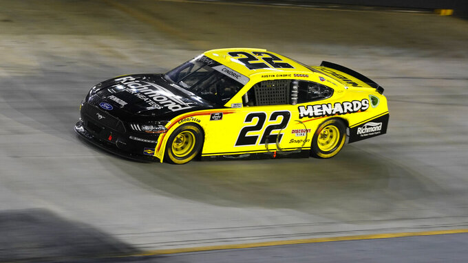 Austin Cindric (22) drives during a NASCAR Xfinity Series auto race at Bristol Motor Speedway Friday, Sept. 17, 2021, in Bristol, Tenn. (AP Photo/Mark Humphrey)