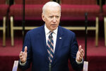 Democratic presidential candidate former Vice President Joe Biden speaks during services, Sunday, Feb. 23, 2020, at the Royal Missionary Baptist Church in North Charleston, S.C. (AP Photo/Matt Rourke)