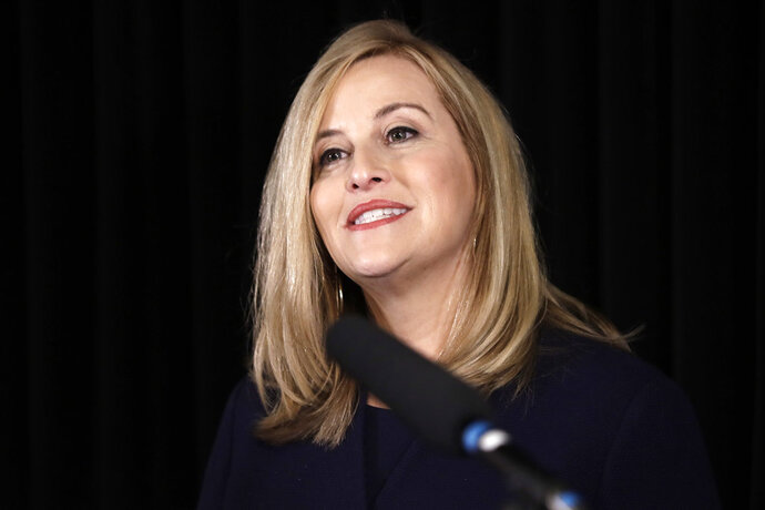 File-This March 6, 208, file photo shows Nashville Mayor Megan Barry announcing her resignation in Nashville, Tenn. This top story in Tennessee this year was Barry's affair with her bodyguard, a stunning admission that captured national attention and resulted in her pleading guilty to a related felony theft count and resigning, according to an annual Associated Press survey of reporters, editors and broadcasters. Barry, who was a rising star in the Democratic ranks, stood on stage alone during a January news conference and confessed to the extramarital relationship with the former head of her security detail, ex-police Sgt. Robert Forrest.  (AP Photo/Mark Humphrey, File)