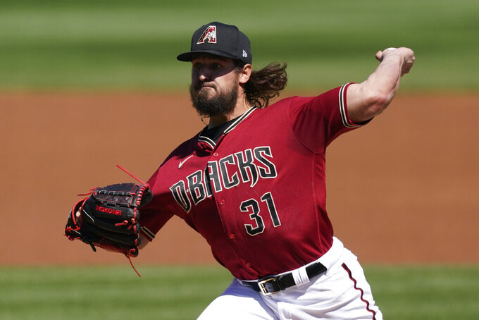 Arizona Diamondbacks starting pitcher Caleb Smith (31) throws during the first inning of a spring training baseball game against the San Francisco Giants Sunday, March 14, 2021, in Scottdale, Ariz. (AP Photo/Ashley Landis)