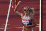 Elle Purrier St. Pierre celebrates after winning the women's 1500-meter run at the U.S. Olympic Track and Field Trials Monday, June 21, 2021, in Eugene, Ore. (AP Photo/Chris Carlson)