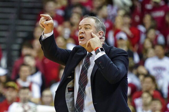 Rutgers head coach Steve Pikiell yells to his team during the second half of an NCAA college basketball game against Wisconsin, Sunday, Feb. 23, 2020, in Madison, Wis. (AP Photo/Andy Manis)