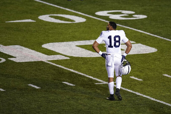 Penn State's Shaka Toney leaves the field after Indiana defeated Penn State in overtime of an NCAA college football game, Saturday, Oct. 24, 2020, in Bloomington, Ind.  (AP Photo/Darron Cummings)