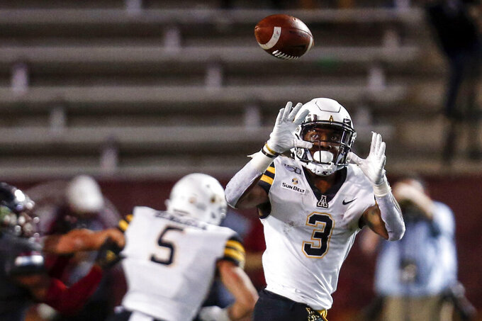 Appalachian State running back Darrynton Evans (3) catches a pass during the second half of the team's NCAA college football game against Troy on Friday, Nov. 29, 2019, in Troy, Ala. (AP Photo/Butch Dill)