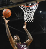 Texas Southern center Trayvon Reed (5) scores two against Prairie View A&M during the first half of the SWAC championship NCAA college basketball game Saturday, March 16, 2019, in Birmingham, Ala. (AP Photo/Julie Bennett)