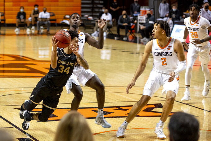 Oakland's Jalen Moore falls with the ball during the first half of the team's NCAA college basketball game against Oklahoma State in Stillwater, Okla., Saturday, Dec. 5, 2020. (AP Photo/Mitch Alcala)