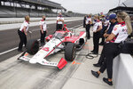 Simona De Silvestro, of Switzerland, waits in the pits during practice for the Indianapolis 500 auto race at Indianapolis Motor Speedway, Wednesday, May 19, 2021, in Indianapolis. (AP Photo/Darron Cummings)
