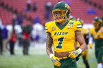 FILE - North Dakota State wide receiver Christian Watson (1) runs on the field before the FCS championship NCAA college football game against James Madison in Frisco, Texas, in this Saturday, Jan. 11, 2020, file photo. Watson is a member of The Associated Press FCS All-America team, announced Wednesday, May 12, 2021.  (AP Photo/Sam Hodde, File)