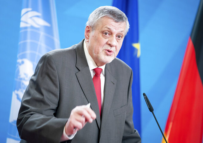 UN Special Envoy for Libya Jan Kubis addresses the media during a news conference with German Foreign Minister Heiko Maas at the Foreign Office in Berlin, Germany, Thursday, March 18, 2021. (Kay Nietfeld/dpa via AP)