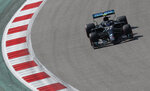 Mercedes driver Valtteri Bottas of Finland steers his car during the first practice session for the upcoming Russian Formula One Grand Prix, at the Sochi Autodrom circuit, in Sochi, Russia, Friday, Sept. 25, 2020. The Russian Formula One Grand Prix will take place on Sunday. (Yuri Kochetkov, Pool via AP)