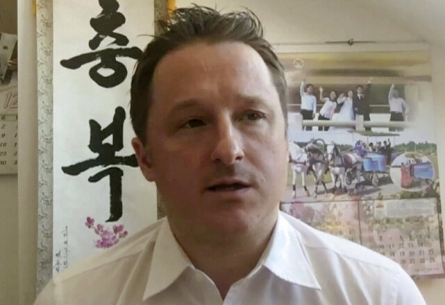 FILE - In this March 2, 2017, file image made from video, Michael Spavor, director of Paektu Cultural Exchange, talks during a Skype interview in Yanji, China. China has charged two detained Canadians with spying in cases linked to Canada's arrest of a Huawei executive on U.S. charges. Chinese prosecutors said Friday, June 19, 2020, that Spavor and Michael Kovrig have been charged. (AP Photo, File)