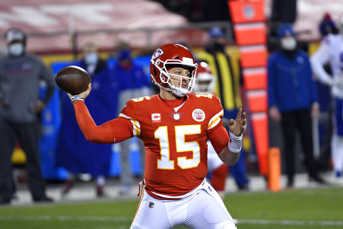 Kansas City Chiefs quarterback Patrick Mahomes throws a pass during the second half of the AFC championship NFL football game against the Buffalo Bills, Sunday, Jan. 24, 2021, in Kansas City, Mo. (AP Photo/Reed Hoffmann)