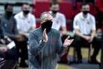 Rutgers head coach Steve Pikiell reacts during the first half of an NCAA college basketball game against Maryland, Monday, Dec. 14, 2020, in College Park, Md. (AP Photo/Julio Cortez)