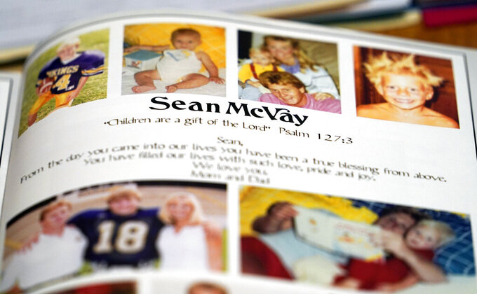 A yearbook page from Los Angeles Rams coach Sean McVay's senior year a Marist School is displayed during an interview for the NFL Super Bowl 53 football game Friday, Feb. 1, 2019, in Atlanta. McVay was the starting quarterback his senior year at Marist when the team won the state championship in 2003. (AP Photo/David J. Phillip)