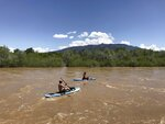 FILE - In this May 4, 2019, file photo two kayakers float the Rio Grande through Corrales, N.M. New Mexico lawmakers are considering setting aside $20 million that could be used as seed money as water managers in the arid state scramble to find ways to reduce groundwater pumping that is at the center of a legal battle over one of North America's longest rivers. The ongoing fight over the Rio Grande has pitted Texas and New Mexico against one another before the U.S. Supreme Court. (AP Photo/Susan Montoya Bryan, File)