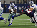 Dallas Cowboys running back Mike Weber (40) escapes pressure on a run from Houston Texans defensive tackle Tracy Sprinkle (62) in the second half of a preseason NFL football game in Arlington, Texas, Saturday, Aug. 24, 2019. (AP Photo/Ron Jenkins)
