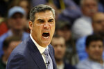 FILE - In this Dec. 5, 2018, file photo, Villanova head coach Jay Wright shouts during an NCAA college basketball game against Temple in Villanova, Pa. Wright is starting his 19th season at Villanova, where he is already the winningest coach in program history. (AP Photo/Matt Slocum, File)