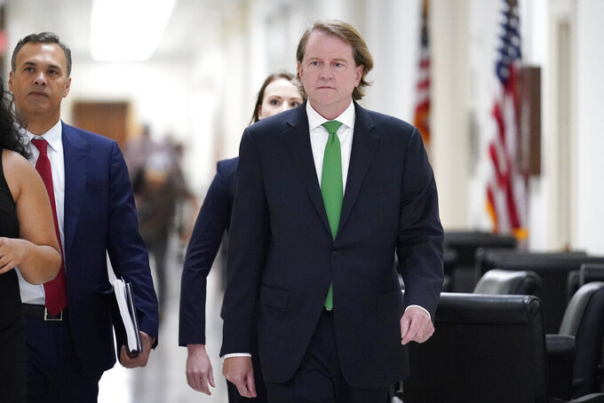 Former White House counsel Don McGahn arrives to meet with the House Judiciary Committee on Capitol Hill in Washington, Friday, June 4, 2021. The committee will question McGahn behind closed doors on Friday, two years after House Democrats originally sought his testimony as part of investigations into former President Donald Trump. (AP Photo/J. Scott Applewhite)