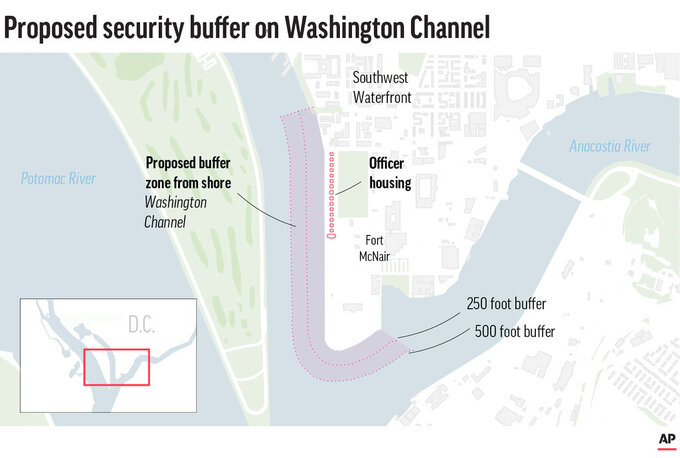 Map shows the location of Fort McNair and surrounding area along with the proposed buffer zone. Proposed new restrictions along Fort McNair's Southwest Waterfront would protect army housing.