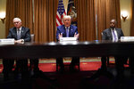 President Donald Trump speaks during a roundtable about America's seniors, in the Cabinet Room of the White House, Monday, June 15, 2020, in Washington, as Vice President Mike Pence and Housing and Urban Development Secretary Ben Carson listen. (AP Photo/Evan Vucci)