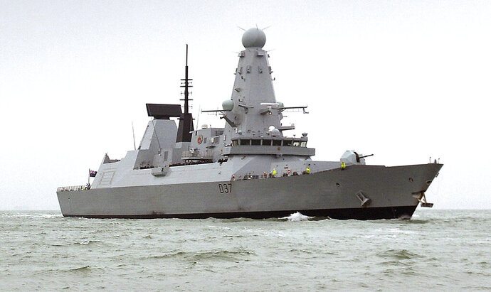 "This undated Ministry of Defence handout shows the HMS Duncan, a Type 45 Destroyer, which will relieve HMS Montrose in the region as Iran threatens to disrupt shipping. Iran on Friday, July 12, 2019 demanded the British navy release an Iranian oil tanker seized last week off Gibraltar, accusing London of playing a ""dangerous game"" and threatening retribution. British media reported a second warship, the destroyer HMS Duncan, was being sent to the Persian Gulf to operate alongside the Royal Navy's HMS Montrose frigate and American forces, and would be there in a few days. The British Ministry of Defense refused to comment. (Ben Sutton/Ministry of Defence via AP)"