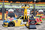 ADDS THAT BUSCH WAS DISQUALIFIED - Kyle Busch celebrates in Victory Lane after winning the NASCAR Xfinity auto race at Texas Motor Speedway in Fort Worth, Texas, Saturday, July 18, 2020.  Kyle Busch celebrated a 10th NASCAR Xfinity Series victory at Texas, and then had it taken away. Busch failed postrace tech inspection Saturday after finishing ahead of Austin Cindric, who was declared the winner for the third victory in a row after winning both Xfinity races at Kentucky.(AP Photo/Ray Carlin)