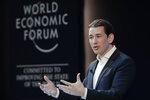 Austrian Chancellor Sebastian Kurz addresses the annual meeting of the World Economic Forum in Davos, Switzerland, Thursday, Jan. 24, 2019. (AP Photo/Markus Schreiber)