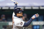 Detroit Tigers' Miguel Cabrera watches his two-run home run during the fifth inning of a baseball game against the Kansas City Royals, Thursday, Sept. 24, 2020, in Kansas City, Mo. (AP Photo/Charlie Riedel)