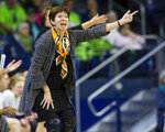 Notre Dame head coach Muffet McGraw argues a call during an NCAA college basketball game against Boston College, Thursday, Jan. 9, 2020, in South Bend, Indiana. (Michael Caterina/South Bend Tribune via AP)