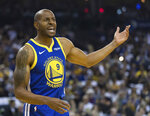 Golden State Warriors guard Andre Iguodala reacts after a foul is call in favor of the Dallas Mavericks in the first half of an NBA basketball game Saturday, March 23, 2019 in Oakland, Calif. (AP Photo/John Hefti)