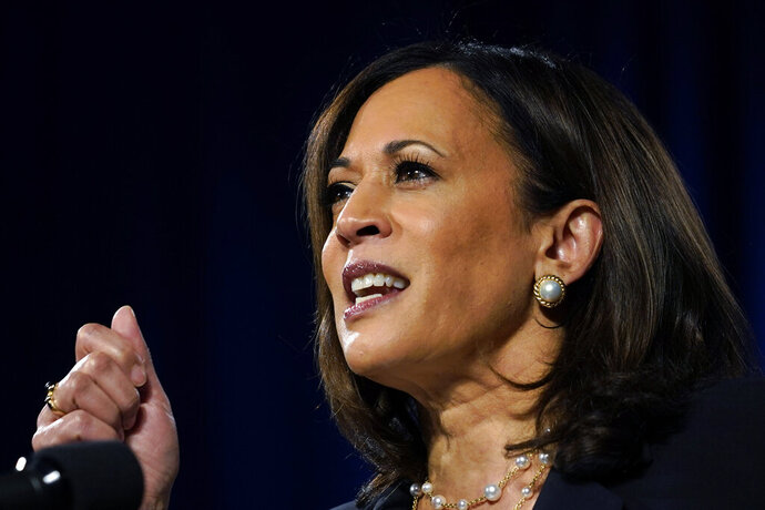 FILE - In this Aug. 27, 2020, file photo Democratic vice presidential candidate Sen. Kamala Harris, D-Calif., speaks in Washington. On Monday, Sept. 7, Harris will travel to Milwaukee, her first traditional campaign trip. (AP Photo/Carolyn Kaster, File)