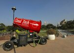 An anti-smog gun is kept at the Central Park in New Delhi, India, Monday, Oct.5, 2020. Authorities in New Delhi launched an anti-pollution campaign on Monday in an attempt to curb air pollution levels ahead of winter, when the capital is regularly covered in toxic haze, and warned that filthy air could make the coronavirus pandemic more dangerous. (AP Photo/Manish Swarup)