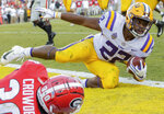 LSU running back Clyde Edwards-Helaire (22) is stopped just short of a touchdown by Georgia linebacker Tae Crowder (30) during the second half of an NCAA college football game in Baton Rouge, La., Saturday, Oct. 13, 2018. (AP Photo/Matthew Hinton)