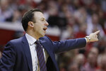 Minnesota head coach Richard Pitino argues a call during the first half of an NCAA college basketball game against Indiana, Wednesday, March 4, 2020, in Bloomington, Ind. (AP Photo/Darron Cummings)