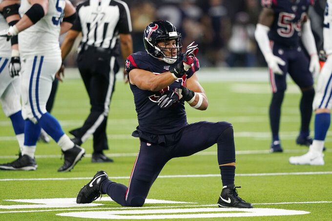 Houston Texans outside linebacker Brennan Scarlett (57) celebrates a stop during the second half of an NFL football game against the Indianapolis Colts Thursday, Nov. 21, 2019, in Houston. (AP Photo/David J. Phillip)